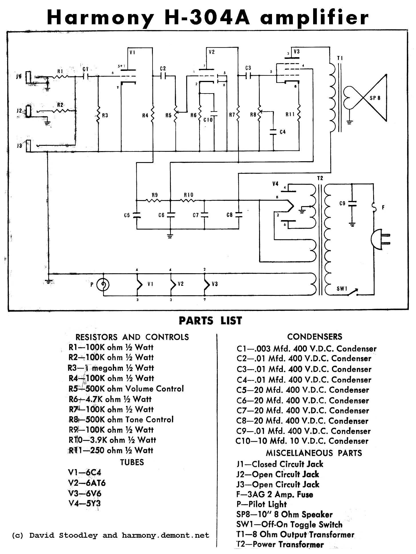 15 amp schematic wiring diagram old harmony h304a amplifier | telecaster guitar forum
