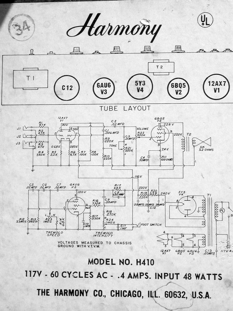 harmony guitars database harmony h306a schematic wiring amp